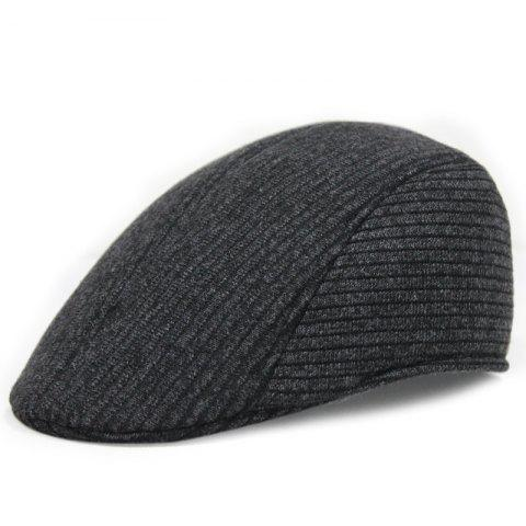 Warm knitted beret + adjustable for 57-58cm - BLACK