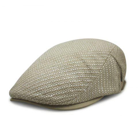 Autumn and winter cotton and linen woven beret casual trend forward cap + adjust - KHAKI