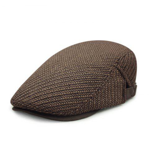 Autumn and winter cotton and linen woven beret casual trend forward cap + adjust - COFFEE