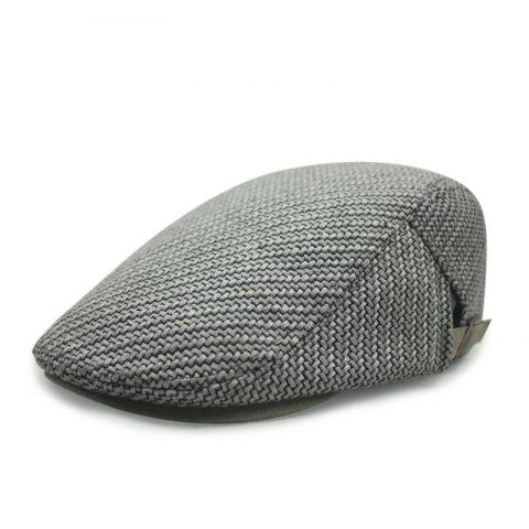 Autumn and winter cotton and linen woven beret casual trend forward cap + adjust - LIGHT GRAY