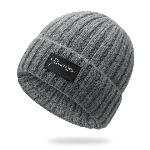 Autumn and winter knit hat winter warm headgear + size code for 56-60cm - LIGHT GRAY