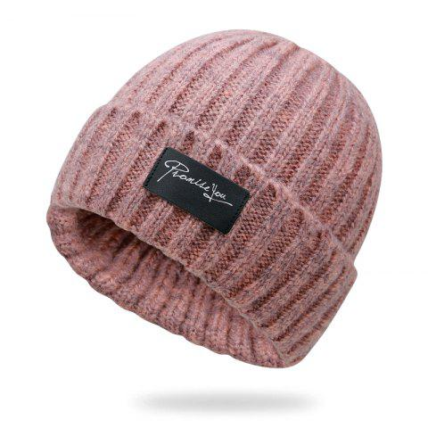 Autumn and winter knit hat winter warm headgear + size code for 56-60cm - PINK