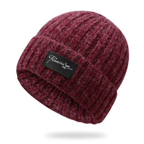 Autumn and winter knit hat winter warm headgear + size code for 56-60cm - RED WINE