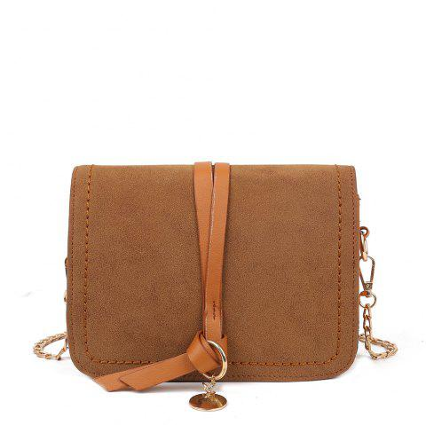 Fashion PU Ladies Messenger Bag Casual Frosted Chain Small Square Bag - BROWN REGULAR
