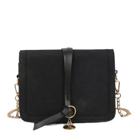 Fashion PU Ladies Messenger Bag Casual Frosted Chain Small Square Bag - BLACK REGULAR