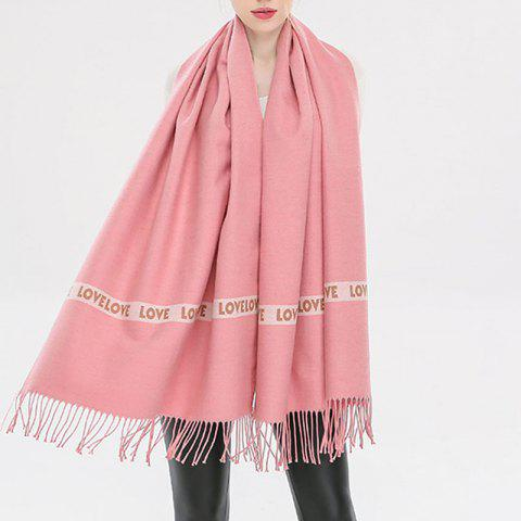 Letter Scarf Women Fashion Love Sweet Thick Cashmere Warm Winter Shawl - PINK 1PC