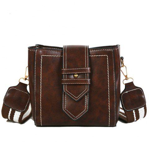 Vintage Belt  Single-Shoulder Bag for Ladies With Square Pliers and Slante - DEEP COFFEE 19CM*11CM*17CM
