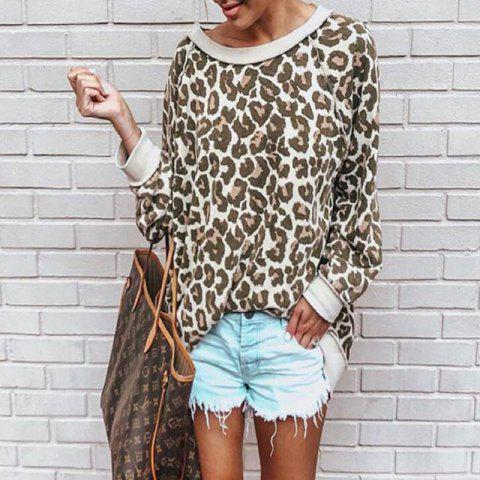 Leopard Print Hoodie Blouse for Women - CAMEL BROWN S