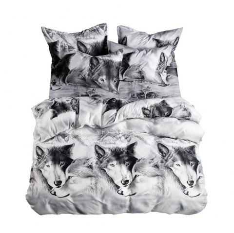 3PCS Bedding Set 3D Oil Printing Wolf  Three-piece suit - multicolor QUEEN SIZE
