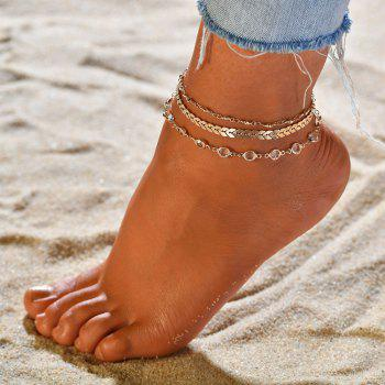 3-PIECE Beach Wind Fashion Trendy Foot Chain Arrowhead Set with Diamond
