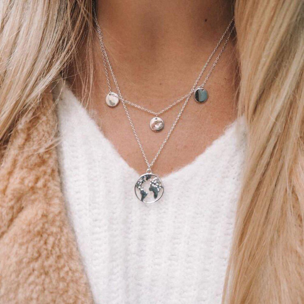 Fashion Personality Round Hollowed Map Pendant Necklace - SILVER