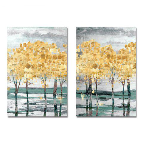 DYC 2PCS Abstract Golden Tree Print Art - multicolor