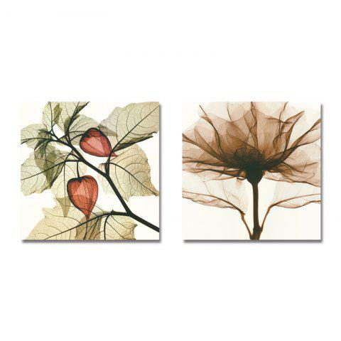 DYC 2PCS Simple Elegant Plant Leaves Print Art - multicolor