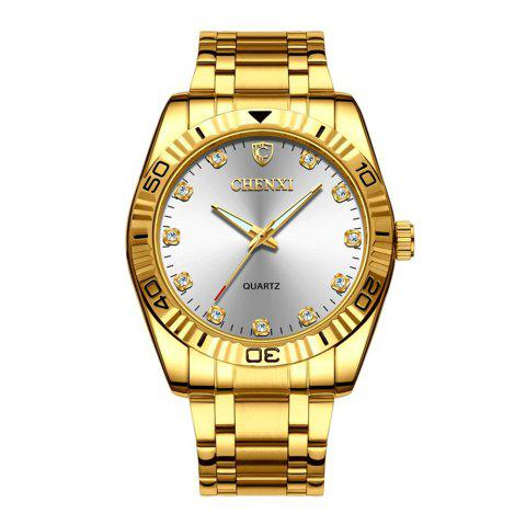 Chenxi 8201 Stainless Steel Strap Wristwatch Waterproof Gold Plated Watch - WHITE