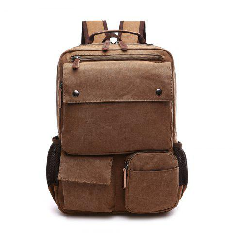 New Large Capacity Canvas Backpack Multi-functional Outdoor Men's Backpack - COFFEE