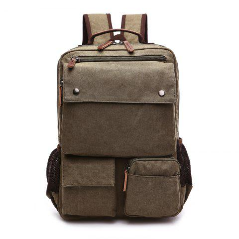 ZUOLUNDUO Large Capacity Canvas Backpack Multi-functional Outdoor Men's Backpack - ARMY GREEN