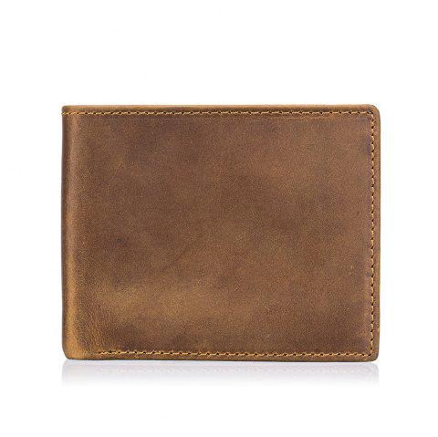 Men's Casual Vintage First Layer Leather Cardet Wallet - DARK GOLDENROD