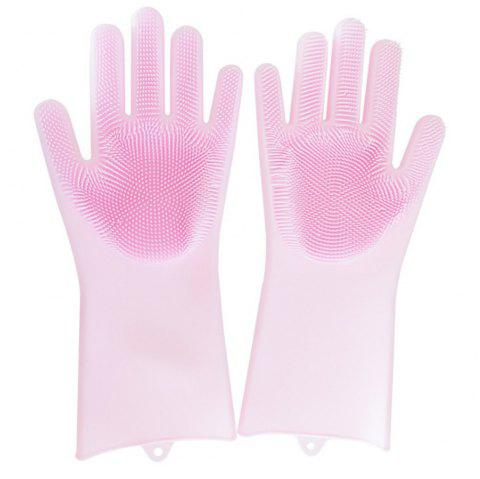 2PCS Creative Home Washing Kitchen Silicone Household Cleaning Gloves - PINK