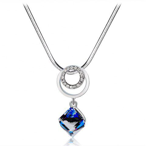 Silver Ring with Zircon Hanging Blue Cube Crystal Necklace - SILVER
