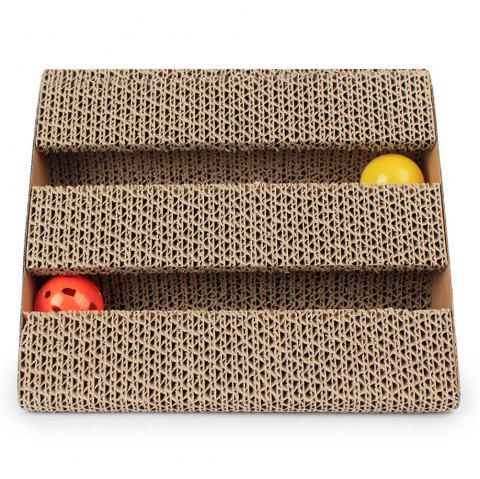 Pet Single Face Double-Groove With The Bell Triangle Corrugated Paper PAWS Plat - SAND 28*24*18CM