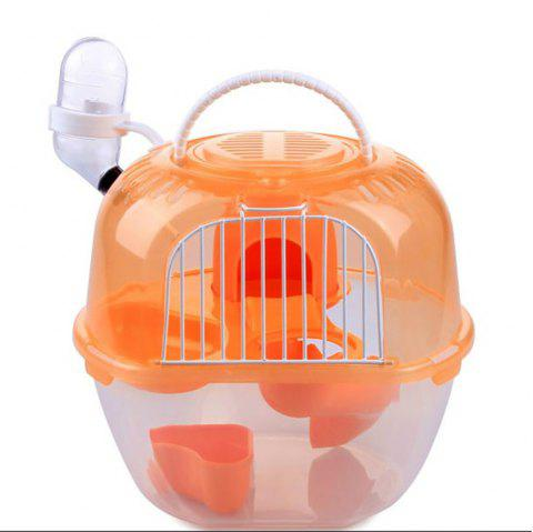 Small Pet Double Luxury Outside The Cage Carry Hamster Coop with Kettle - multicolor A 19*16*19CM