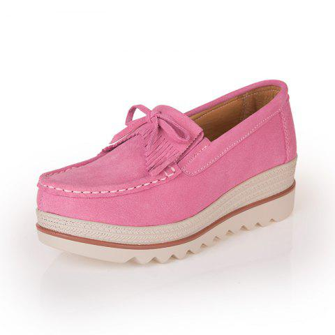 Spring and Autumn Leather Thicker Shoes - PINK EU 40
