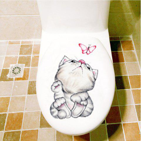 Cute Animal Fridge Toilet PVC Wall Sticker - multicolor E 30X20CM
