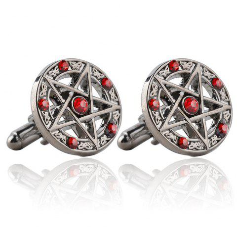 Stylish French Cufflinks with Five-Pointed Stars and Diamonds - RED