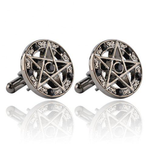 Stylish French Cufflinks with Five-Pointed Stars and Diamonds - BLACK