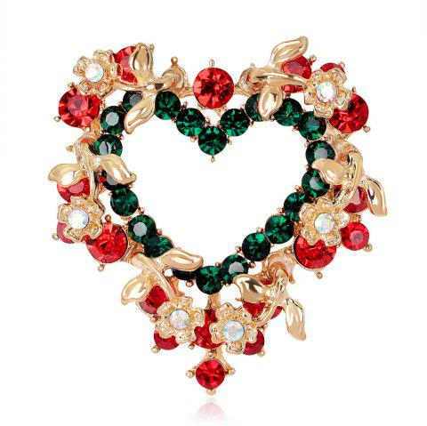 Christmas Gift Heart - Shaped Wreath Brooch - GOLD