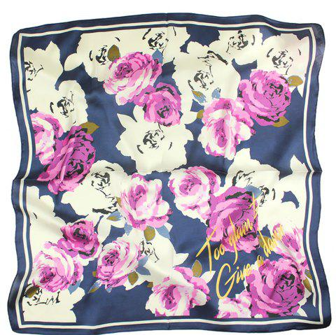 Female Printed Silk Scarf Fashionable Rose Patterns Silk Scarves - PURPLE