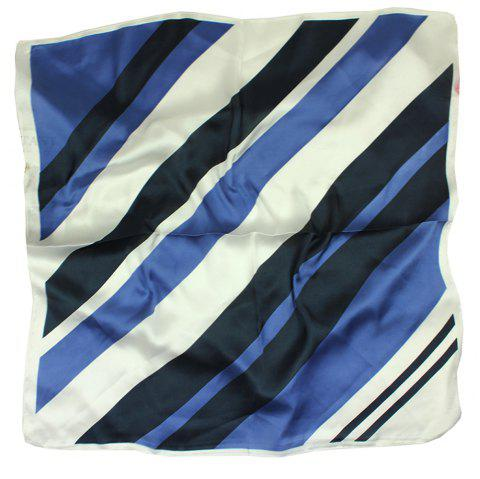 Ladies'Fashionable Scarves Simplicity Stripe Lmitation Real Silk Printing Scarf - BLUE