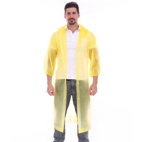 Adult lightweight PEVA raincoat with elastic sleeves and drawstring hoods - YELLOW ONE SIZE