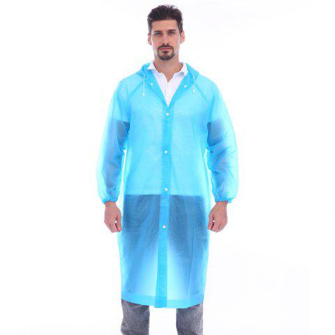 Adult lightweight PEVA raincoat with elastic sleeves and drawstring hoods - LIGHT SKY BLUE ONE SIZE