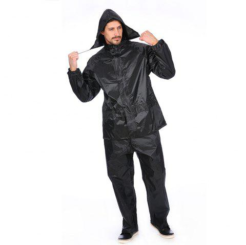 Black Adult Polyester Rain Suit Motorbike Raincoat with Reflective Article - BLACK 3XL