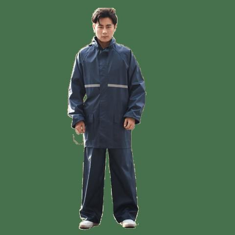 Outdoor Work Motorcycle Adult Oxford Fabric Rain Suit Jacket and Pants - MIDNIGHT BLUE XL