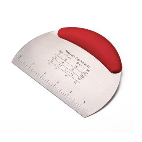 Silicone Handle Stainless Steel Bread Flour Dough Scraper - RED