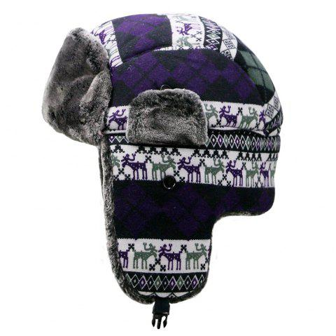Winter plush Lei Feng hat female winter outdoor cycling windproof ear protection - PURPLE