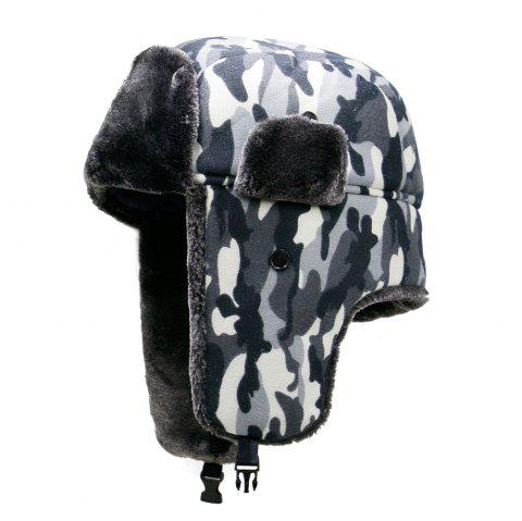 Hat men's winter plush camouflage Lei Feng hat + code for 56-59cm - GRAY