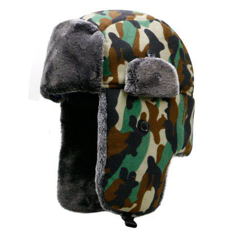 Hat men's winter plush camouflage Lei Feng hat + code for 56-59cm - ARMY GREEN