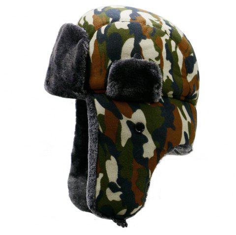 Hat men's winter plush camouflage Lei Feng hat + code for 56-59cm - COFFEE