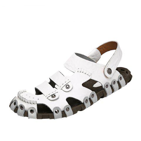 Protect Leather Outdoor Casual Beach Sandals Men Handmade Leathe Summer - WHITE EU 40