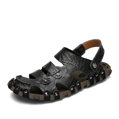 Protect Leather Outdoor Casual Beach Sandals Men Handmade Leathe Summer - BLACK EU 40
