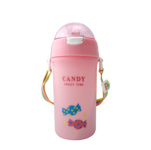 Baby Water Bottle With Straw Colorful Rope Cute Candy Pattern Kid Training Cup B - PINK