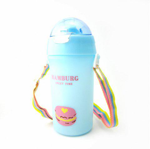 Baby Water Bottle With Straw Colorful Rope Cute Candy Pattern Kid Training Cup B - BLUE