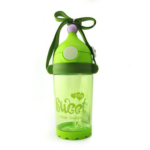 Kid's Water Bottle 400ml Letter Pattern Drink Training Cup - GREEN