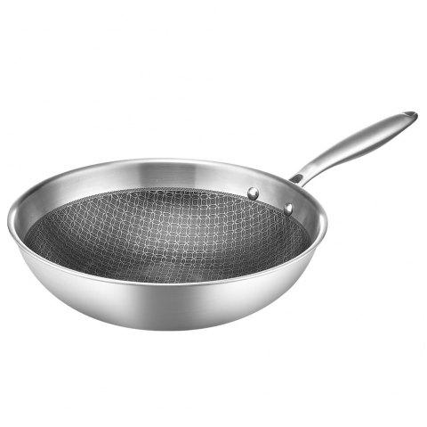 Stainless steel non-stick frying pan - SILVER 1PC