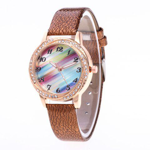 New Fashionable Lady personality Rainbow Dial Leisure Wristwatch - BROWN