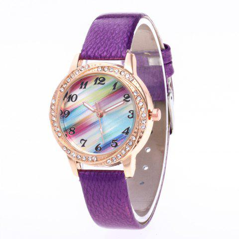 New Fashionable Lady personality Rainbow Dial Leisure Wristwatch - PURPLE