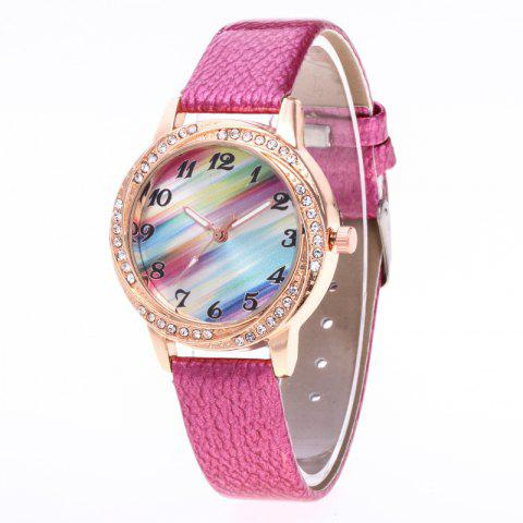 New Fashionable Lady personality Rainbow Dial Leisure Wristwatch - ROSE RED